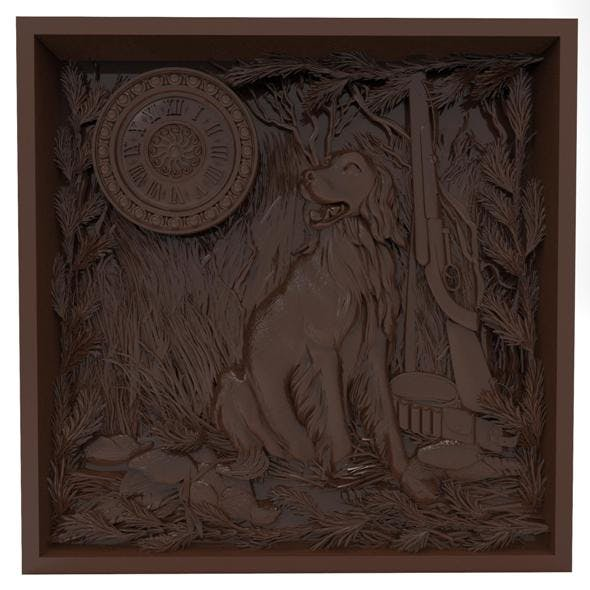 The hunting time Bas relief