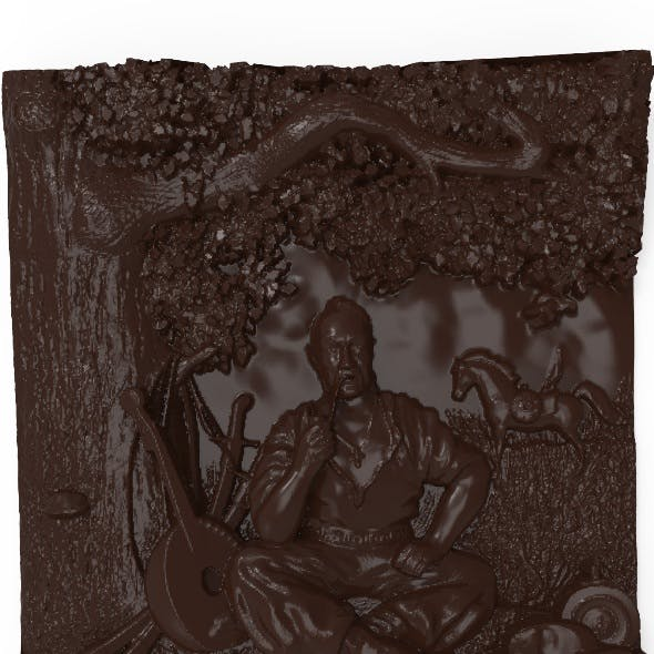 Cossack Mamay Bas relief