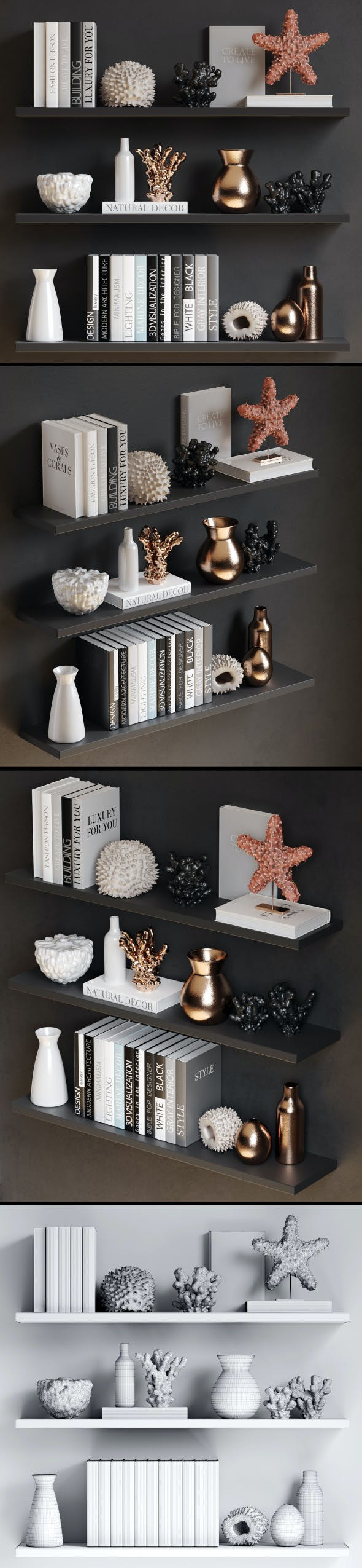 Sea decor with corals, vases and books - 3DOcean Item for Sale
