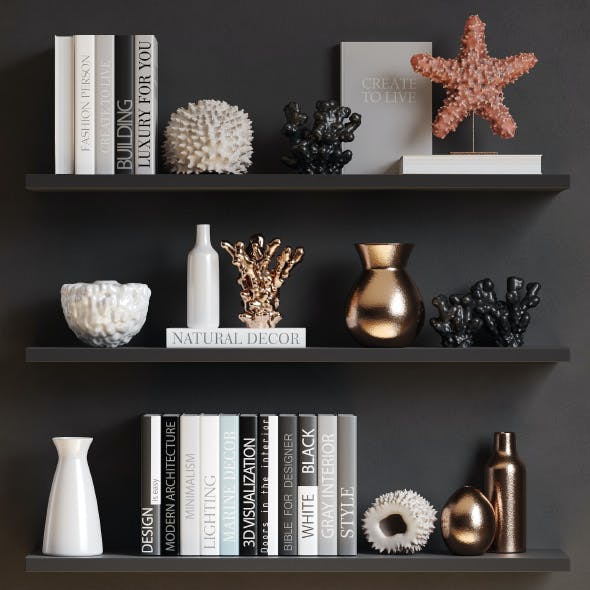 Sea decor with corals, vases and books