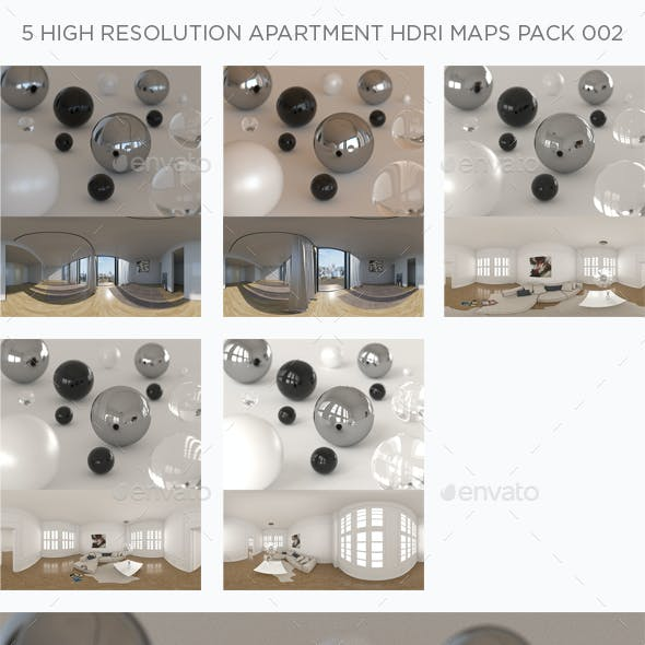 5 High Resolution Apartment HDRi Maps Pack 002