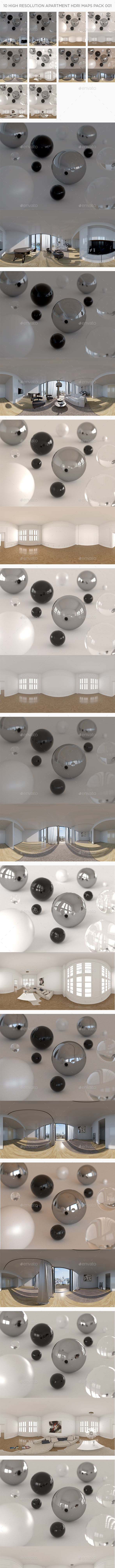 10 High Resolution Apartment HDRi Maps Pack 001 - 3DOcean Item for Sale