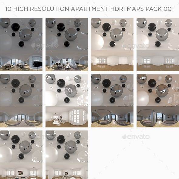 10 High Resolution Apartment HDRi Maps Pack 001