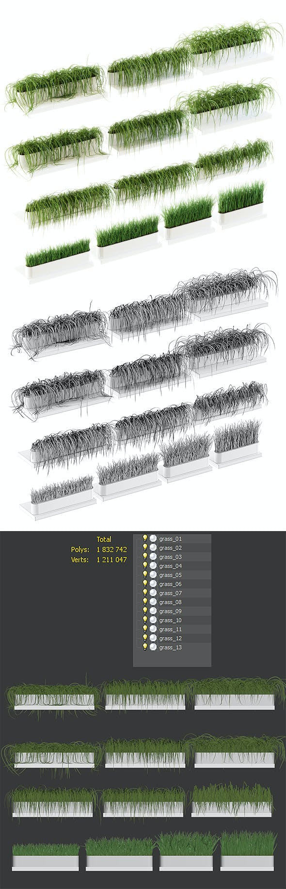 Grass on the shelves of 13 models - 3DOcean Item for Sale