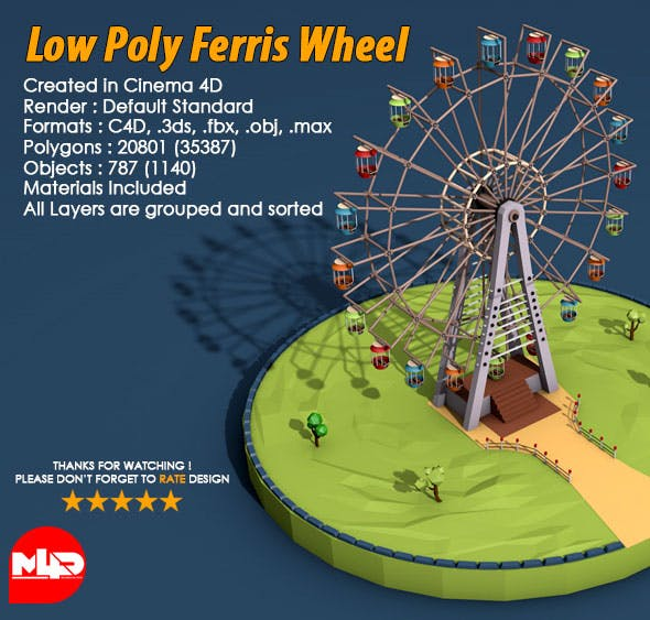 Low Poly Ferris Wheel - 3DOcean Item for Sale