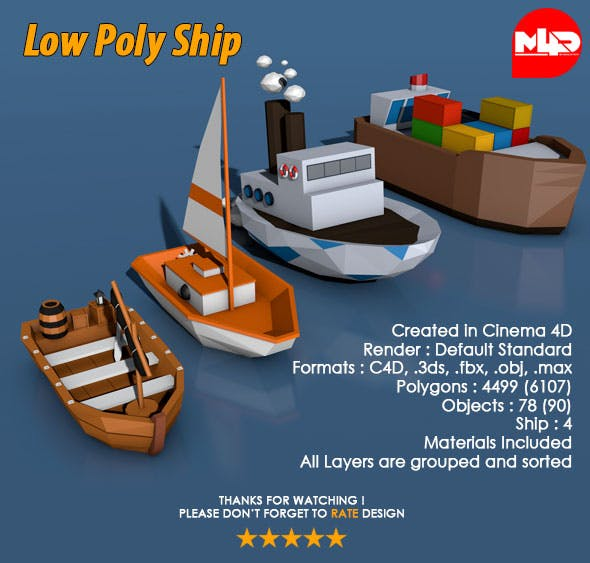 Low Poly Ship Pack - 3DOcean Item for Sale