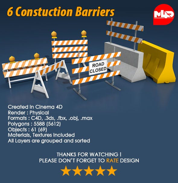 6 Construction Barrier - 3DOcean Item for Sale