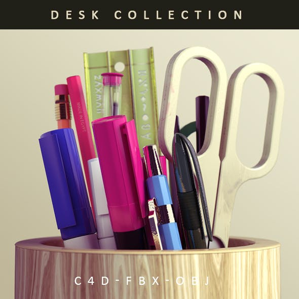 Desk Item Collection of Pens a Scissor and Ruler