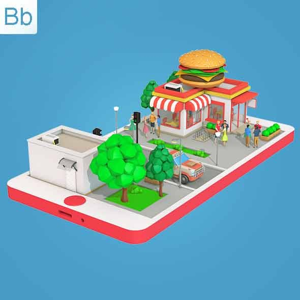 Low Poly Burger Cafe on Phone screen