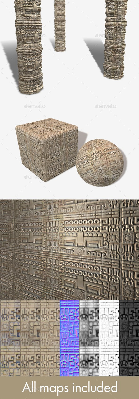 Mexican Stone Carving Seamless Texture - 3DOcean Item for Sale