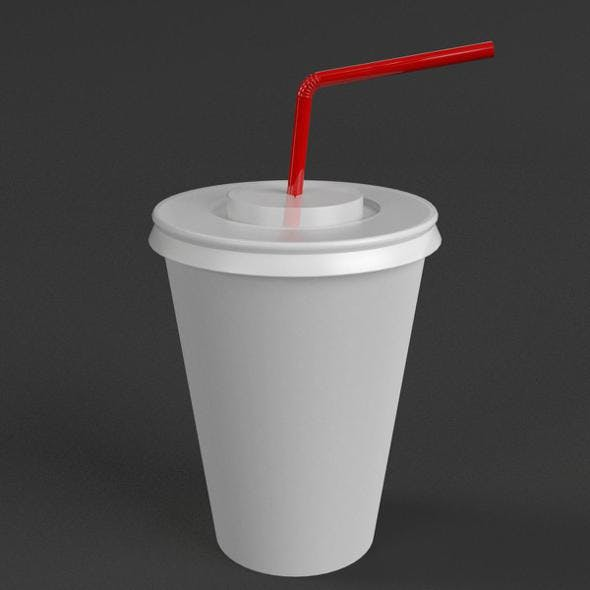Paper Cup with Straw - 3DOcean Item for Sale