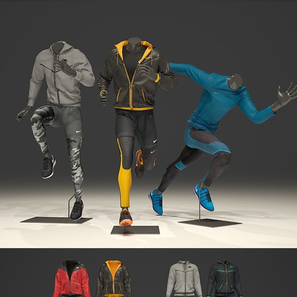 Male mannequin Nike pack 3 3D model