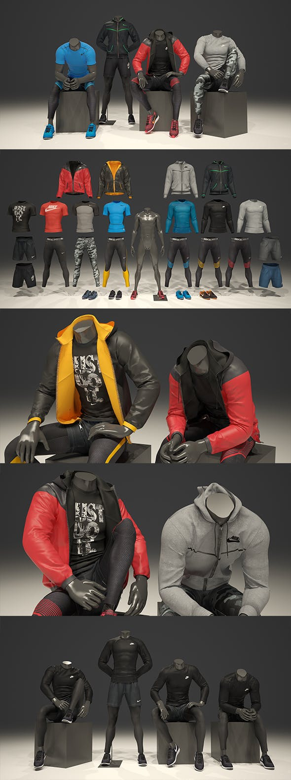 Male mannequin Nike pack 2 3D model - 3DOcean Item for Sale