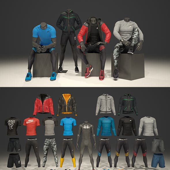 Male mannequin Nike pack 2 3D model
