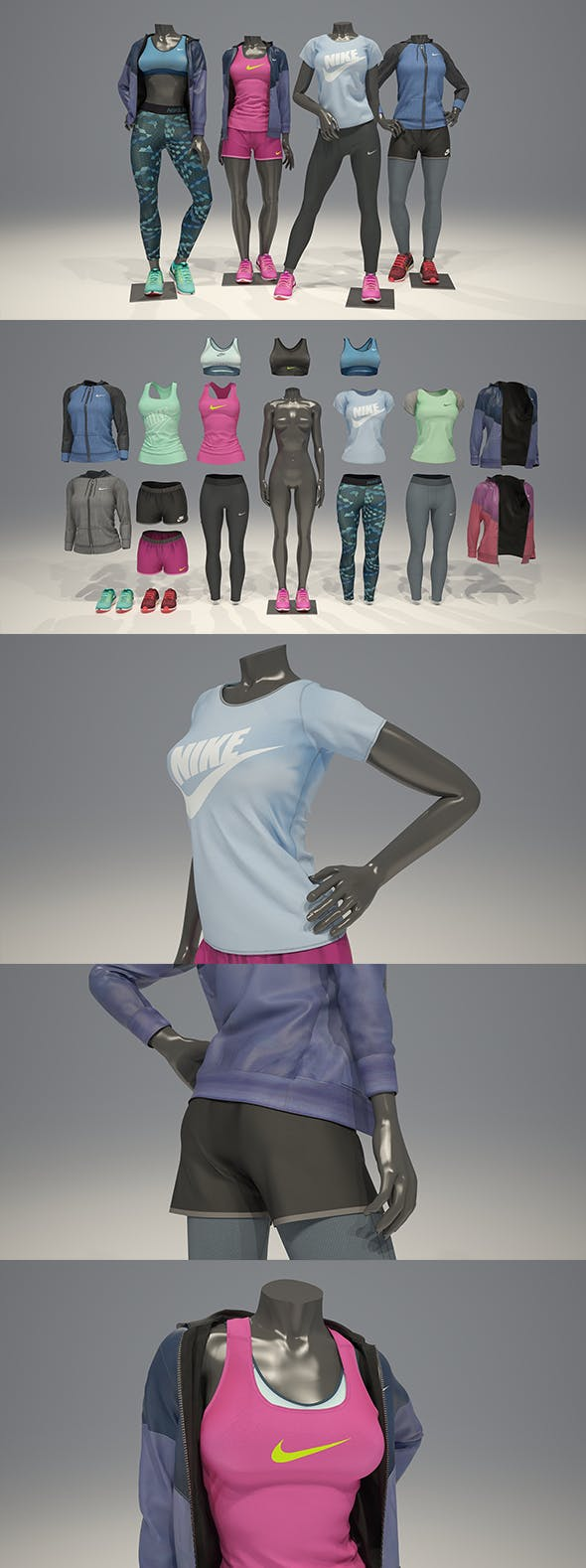 Female mannequin Nike pack 2 3D model - 3DOcean Item for Sale