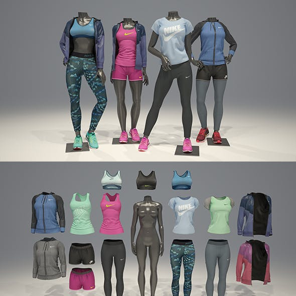 Female mannequin Nike pack 2 3D model