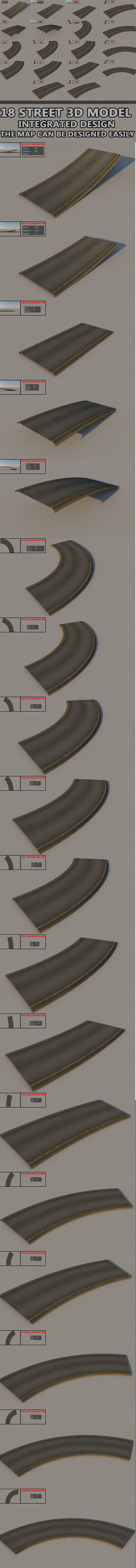 18 Street road - integrated design - 3DOcean Item for Sale