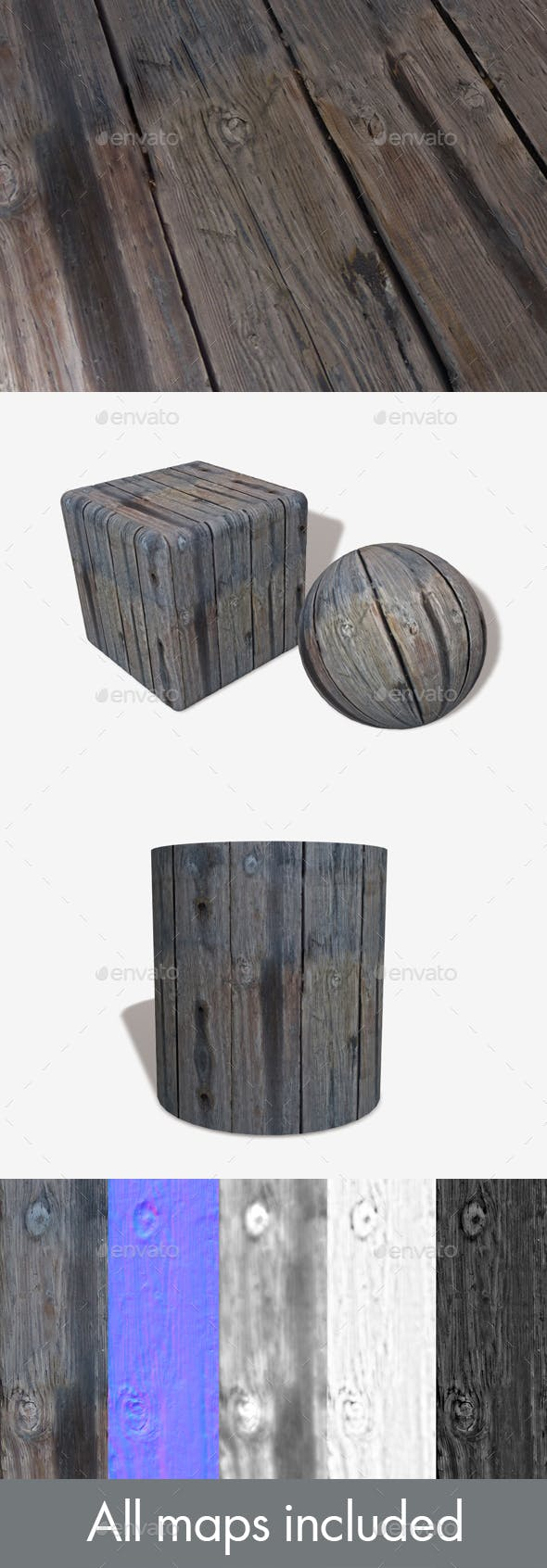 Thick Chunky Weathered Wood Seamless Texture - 3DOcean Item for Sale
