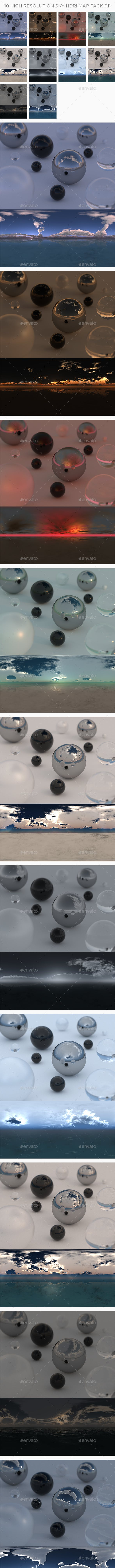10 High Resolution Sky HDRi Maps Pack 011 - 3DOcean Item for Sale