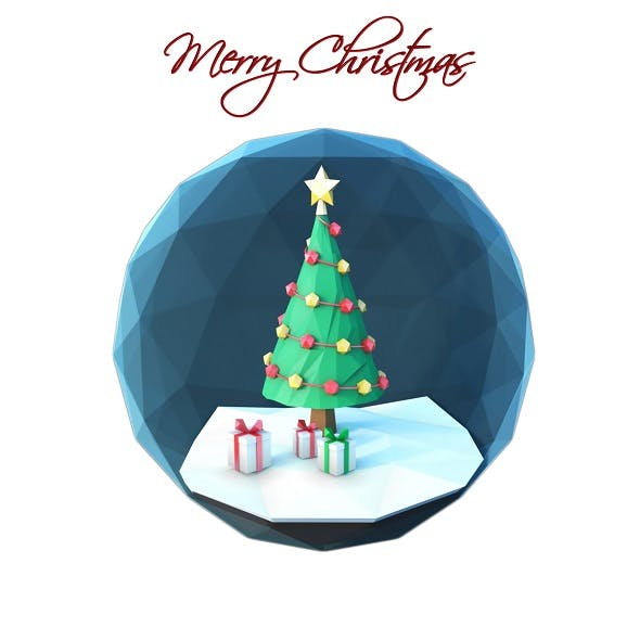 Low poly Christmas scene inside a glass ornament - 3DOcean Item for Sale