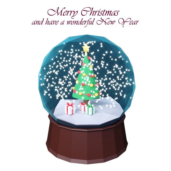 Low Poly Christmas Globe - 3DOcean Item for Sale