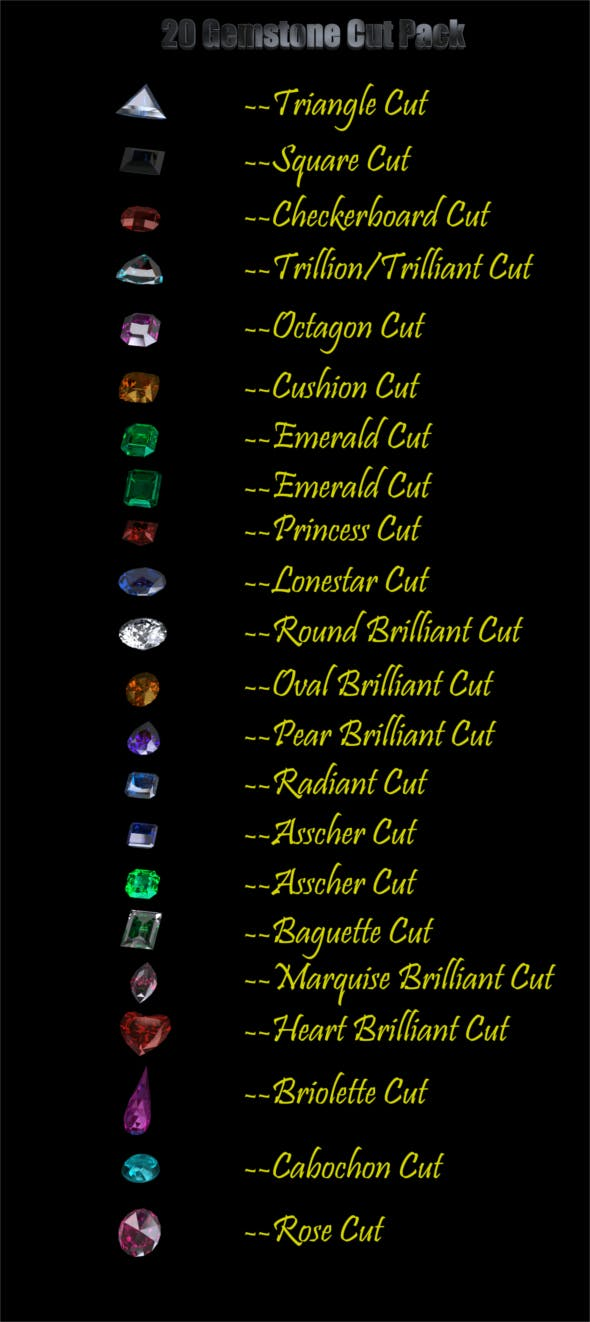 20 Gemstone Cuts Pack (Low Poly) - 3DOcean Item for Sale