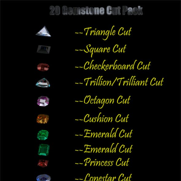 20 Gemstone Cuts Pack (Low Poly)