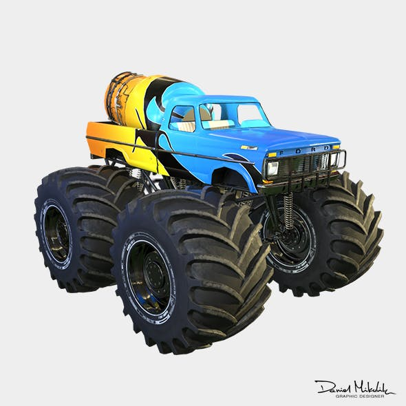 Monster Truck Bigfoot PBR - 3DOcean Item for Sale