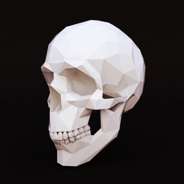 Low poly skull human - 3DOcean Item for Sale