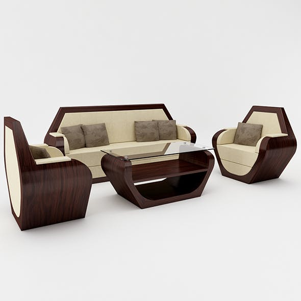 Hexagon Sofa Set - 3DOcean Item for Sale