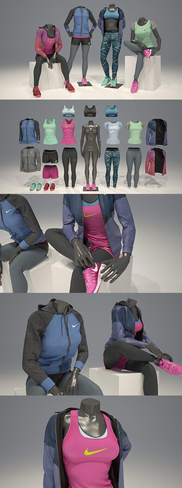 Female mannequin Nike pack 3 3D model - 3DOcean Item for Sale