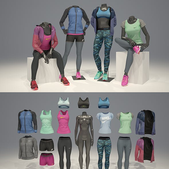 Female mannequin Nike pack 3 3D model
