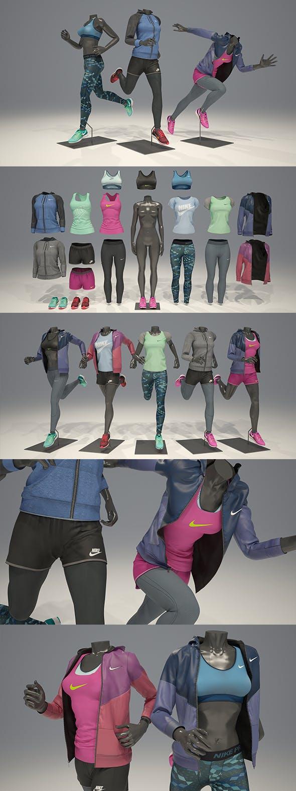 Female mannequin Nike pack 4 3D model - 3DOcean Item for Sale