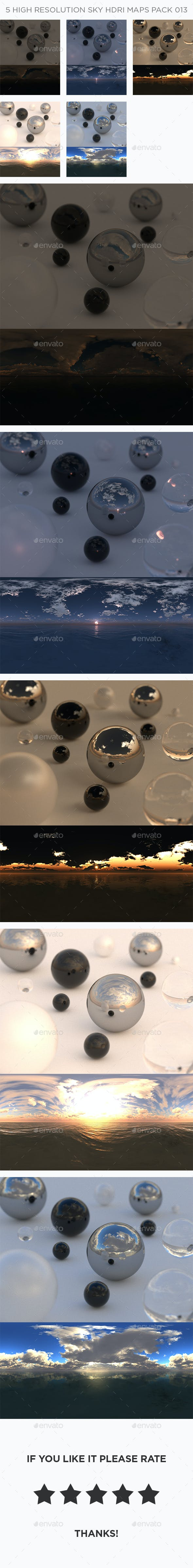 5 High Resolution Sky HDRi Maps Pack 013 - 3DOcean Item for Sale