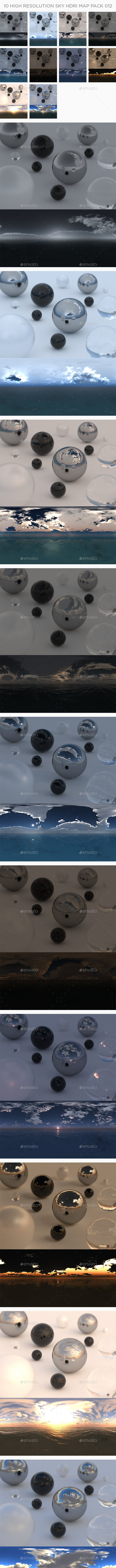 10 High Resolution Sky HDRi Maps Pack 012 - 3DOcean Item for Sale