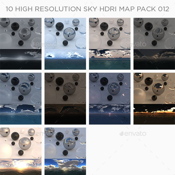 10 High Resolution Sky HDRi Maps Pack 012