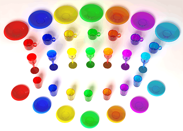 Colored Glassware - 3DOcean Item for Sale