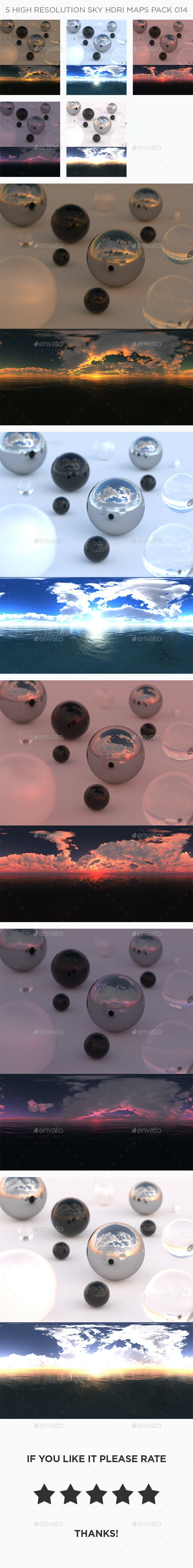5 High Resolution Sky HDRi Maps Pack 014 - 3DOcean Item for Sale