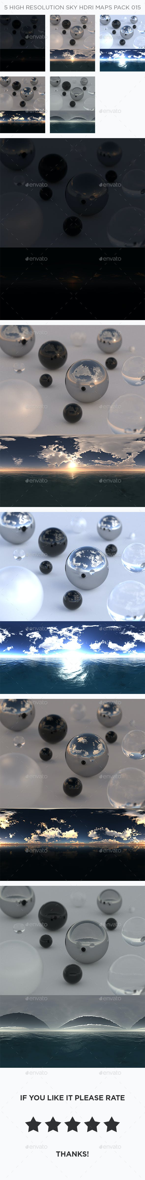 5 High Resolution Sky HDRi Maps Pack 015 - 3DOcean Item for Sale