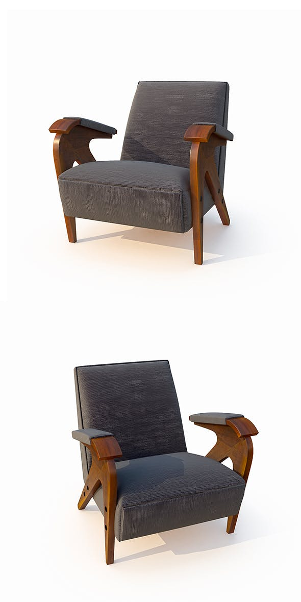 armchair with velvet cover - 3DOcean Item for Sale