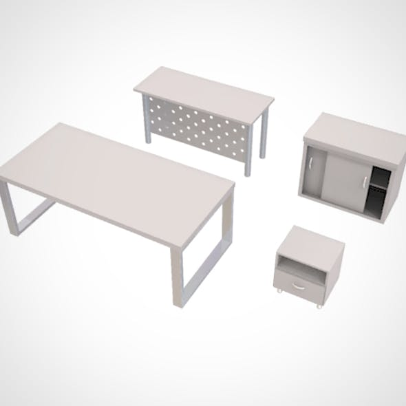 minimalist Table and Cabinet