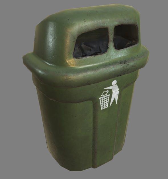Wall Trash Bin PBR - 3DOcean Item for Sale