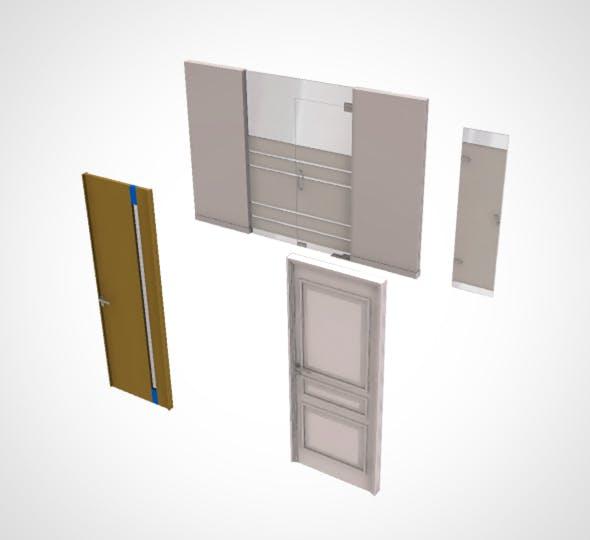 office door set (4 door) - 3DOcean Item for Sale