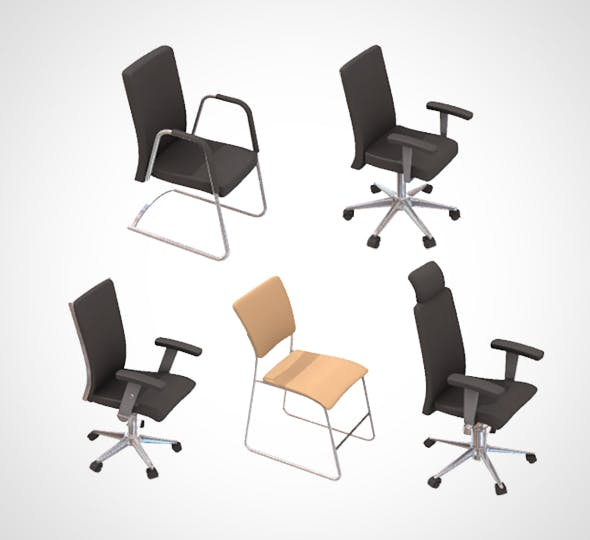 office chair set 001 - 3DOcean Item for Sale