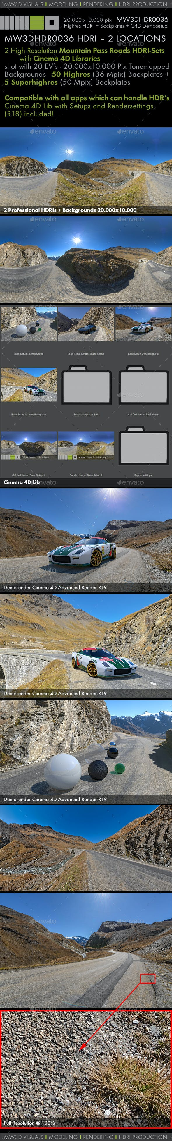 MW3DHDR0036 HDRI – 2 MOUNTAIN PASS ROAD LOCATIONS - 3DOcean Item for Sale