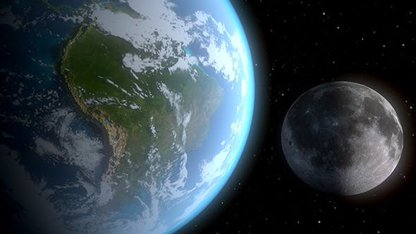 Realistic Earth and the Moon - 3DOcean Item for Sale