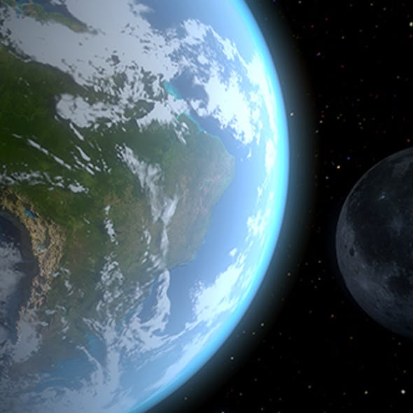Realistic Earth and the Moon