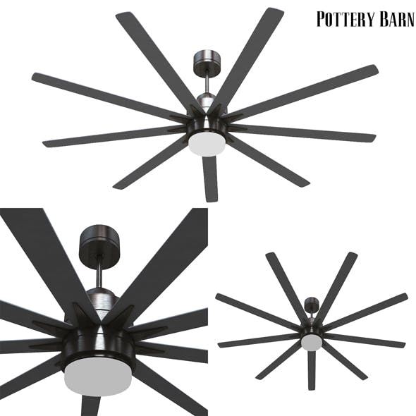 Pottery barn Odyn IndoorOutdoor Ceiling Fan Brushed Nickel With Brushed Nickel Blades - 3DOcean Item for Sale