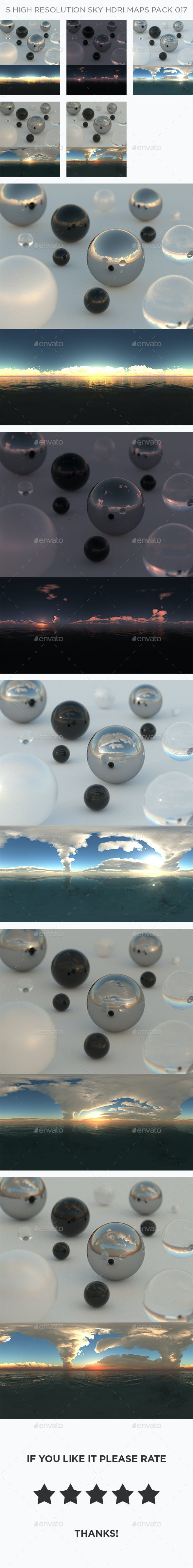 5 High Resolution Sky HDRi Maps Pack 017 - 3DOcean Item for Sale