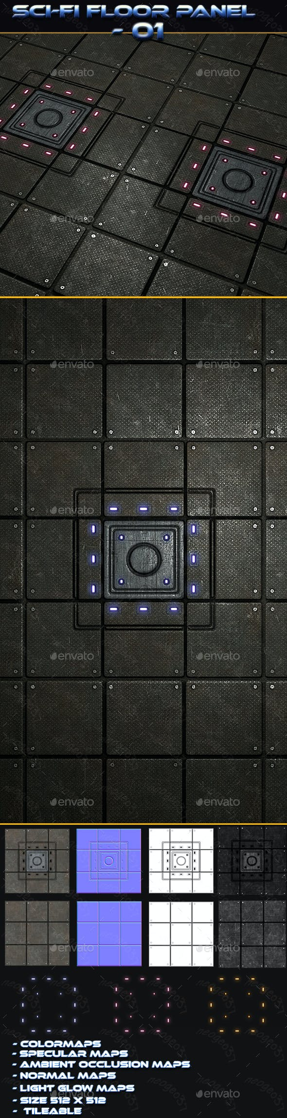 Sci-fi Floor Panel 01 - 3DOcean Item for Sale